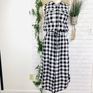 Banana Republic buffalo check midi dress size 2